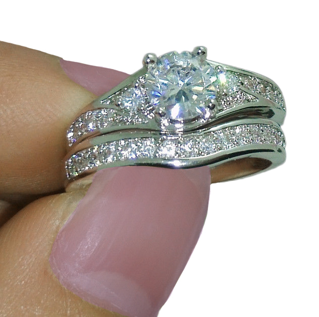 10Kt White Gold Filled White Topaz Wedding Bride Ring Set Size 9