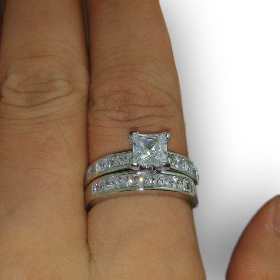 10Kt White Gold Filled Princess Cut CZ Ring Set Size 8