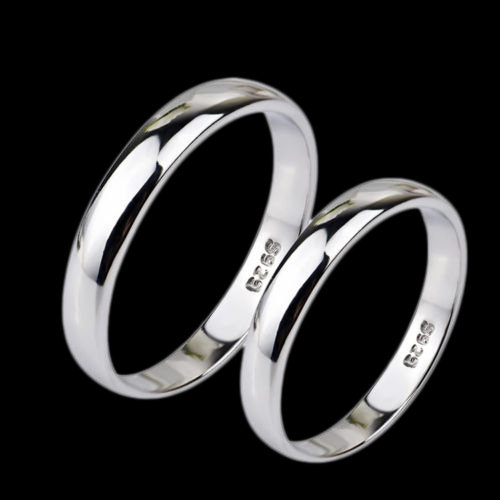 Sterling Silver (S925) Unisex Band Ring 3.25-3.85mm Size 7.75