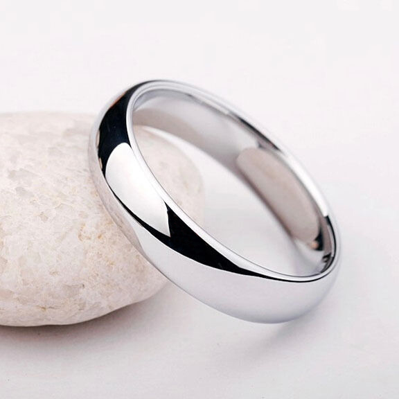 Simple Stainless Unisex Ring Band Silver Size 12.5
