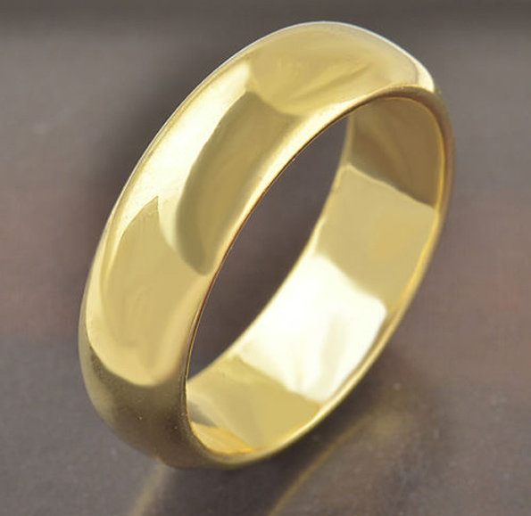 9K Yellow Gold Filled Ring Band 4-4.5mm Size 7.5