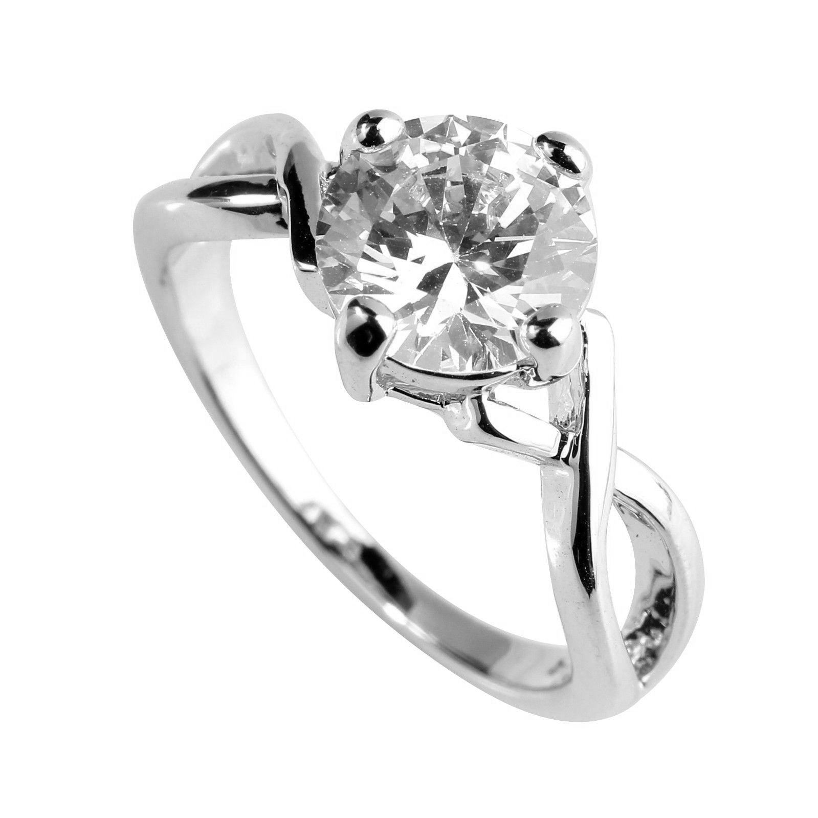 Cubic Zirconia 4 Claw Ring Silver Size 6