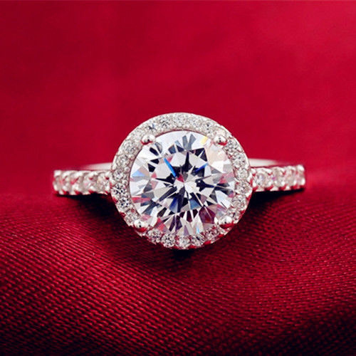 925 Sterling Silver Plated Cubic Zirconia Ring Size 6