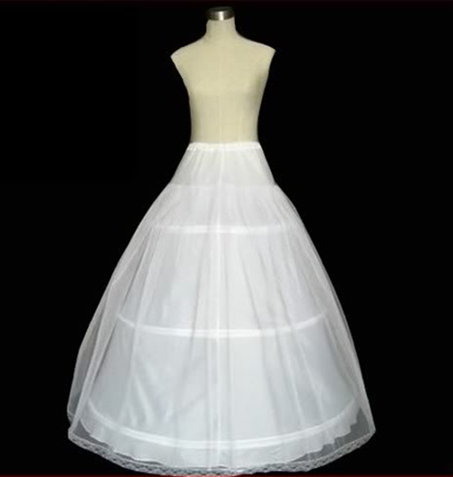 3-Hoop 2-Layer Petticoat Crinoline Underskirt Adjustable White
