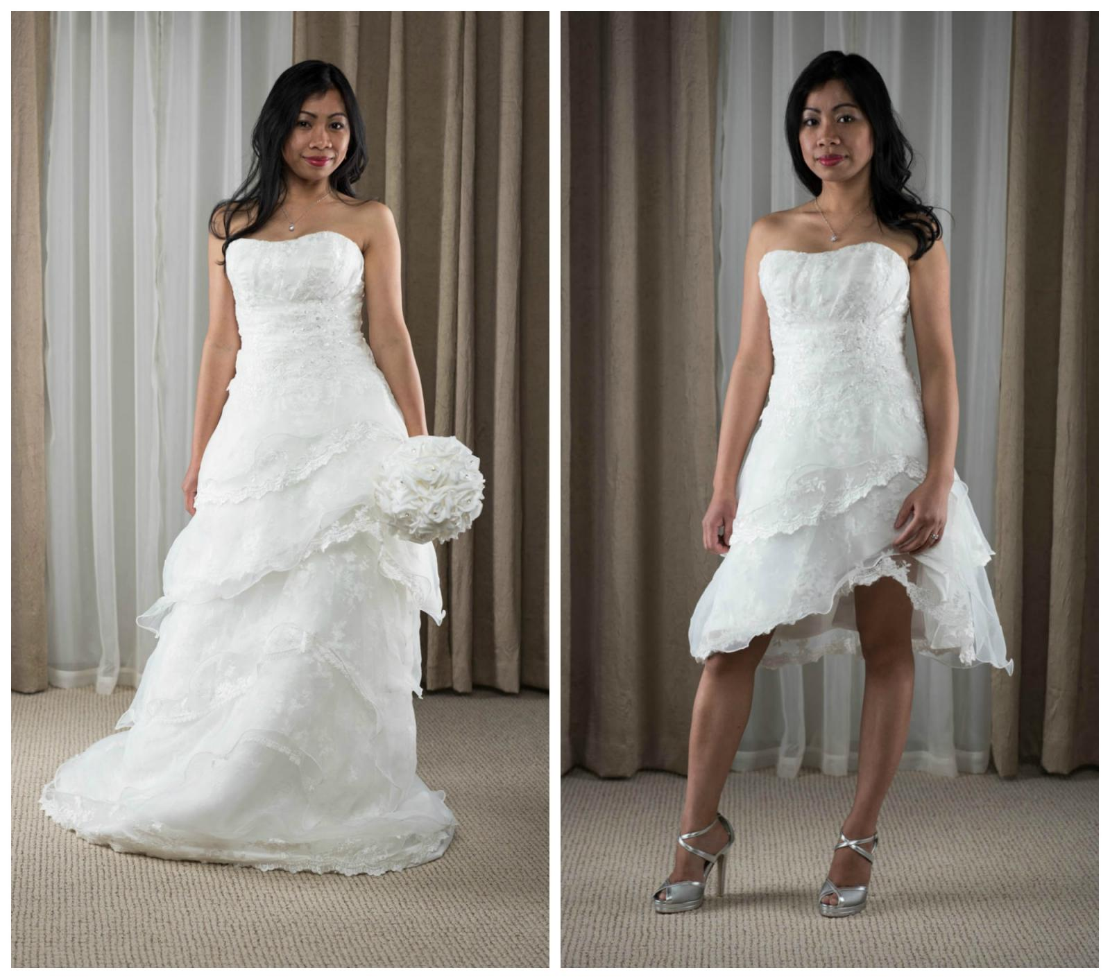 2 in 1 Sweetheart Back Wedding Cocktail Dress Ivory Size 4