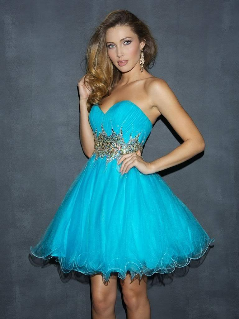 Aqua Mini Dress Homecoming Prom Party Corset Back Size 6