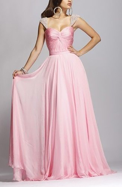 Pink Chiffon Pleated Bodice Wedding Prom Party Dress Size 6