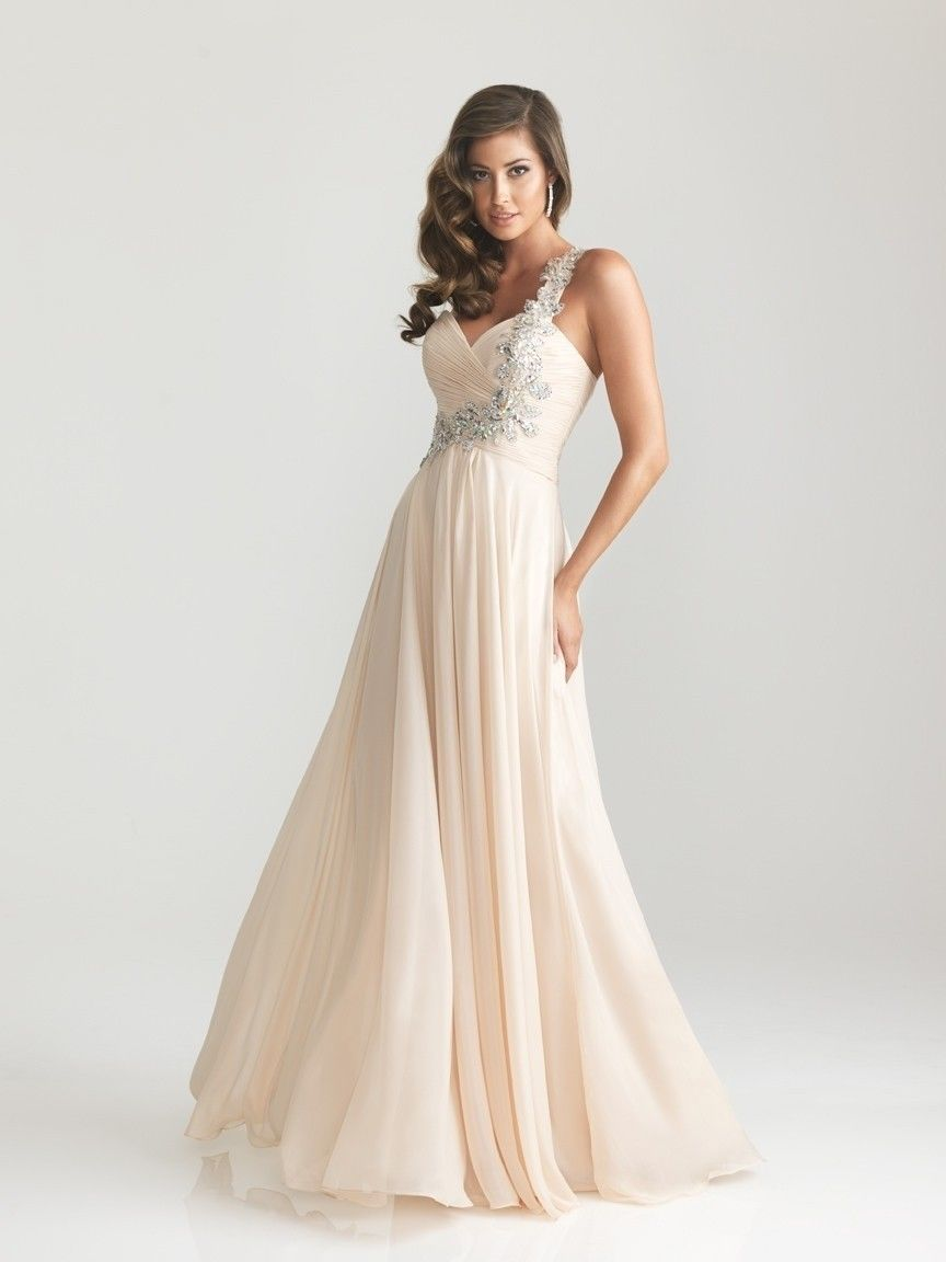 Champagne Chiffon Bridesmaid Prom Party Evening Dress Size 8