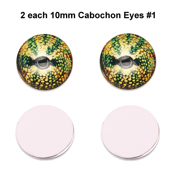 10mm x 3mm Glass Cabochon Eyes (2 pcs) #1
