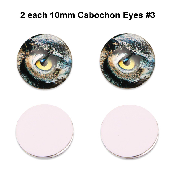 10mm x 3mm Glass Cabochon Eyes (2 pcs) #3