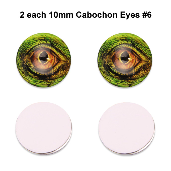 10mm x 3mm Glass Cabochon Eyes (2 pcs) #6