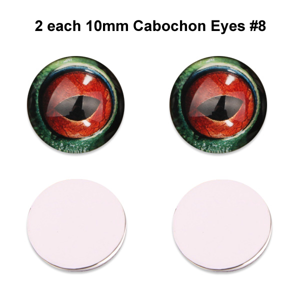 10mm x 3mm Glass Cabochon Eyes (2 pcs) #8