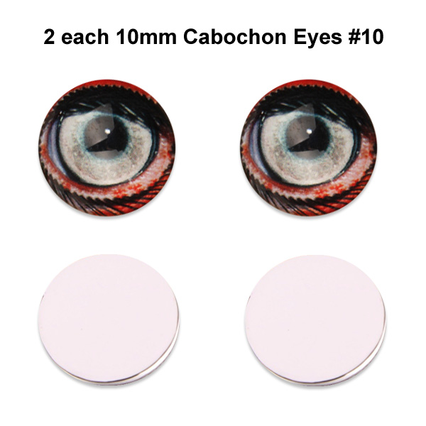 10mm x 3mm Glass Cabochon Eyes (2 pcs) #10