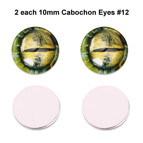 10mm x 3mm Glass Cabochon Eyes (2 pcs) #12