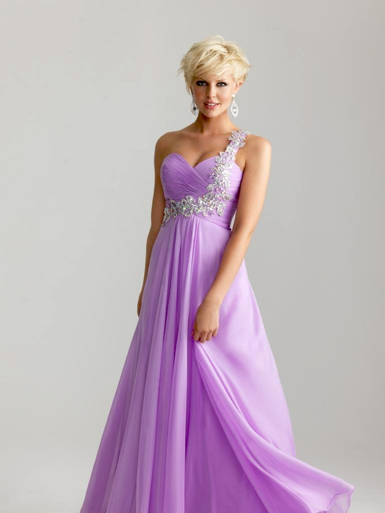 Lavender Chiffon Bridesmaid Prom Party Evening Dress Size 6