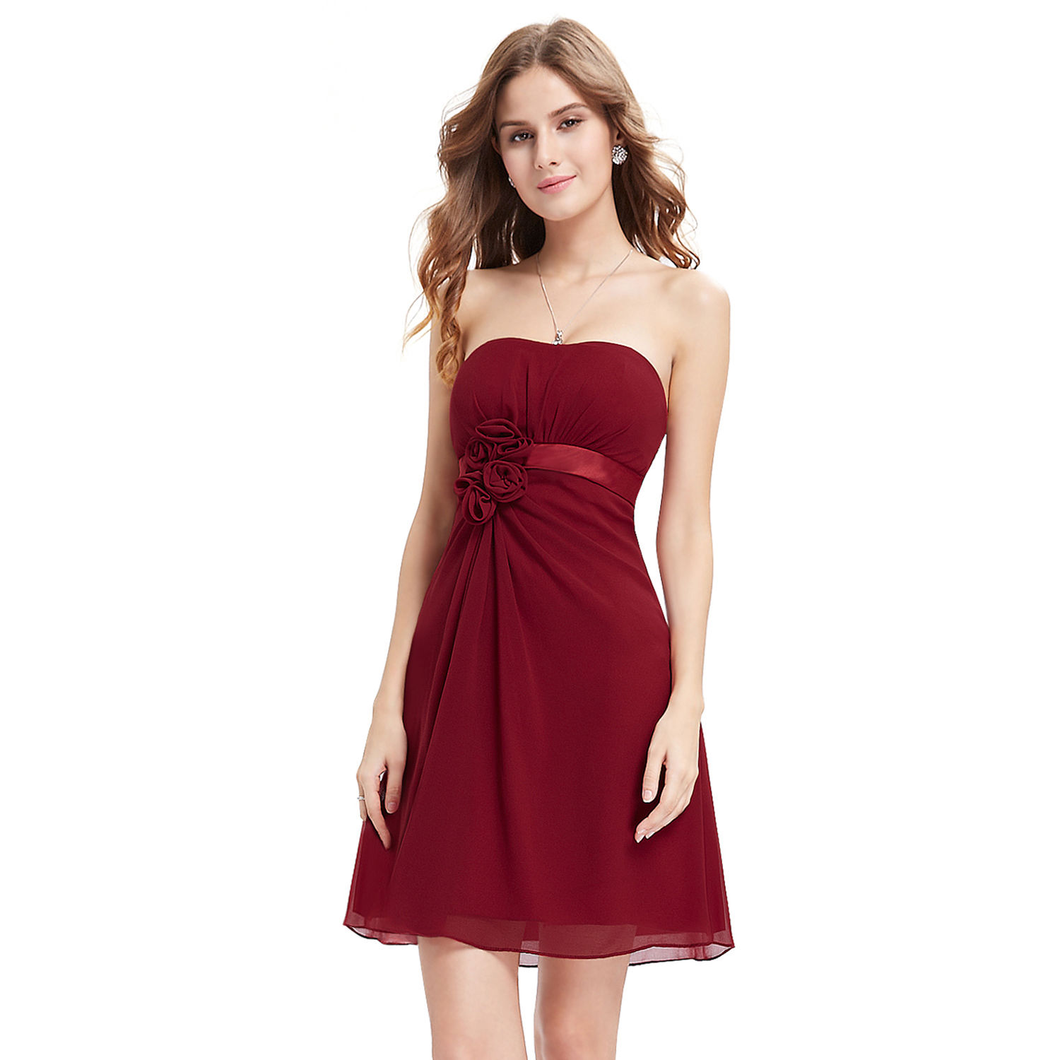 Dark Red Short Chiffon Dress Bridesmaid, Prom Party Size 4