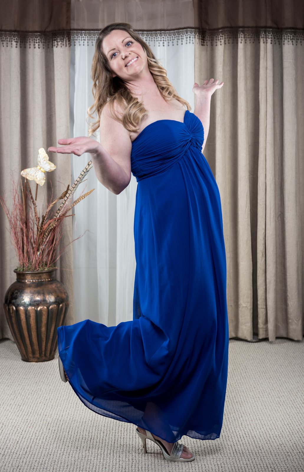 Royal Blue Chiffon Dress Bridesmaid, Prom Party Size 10