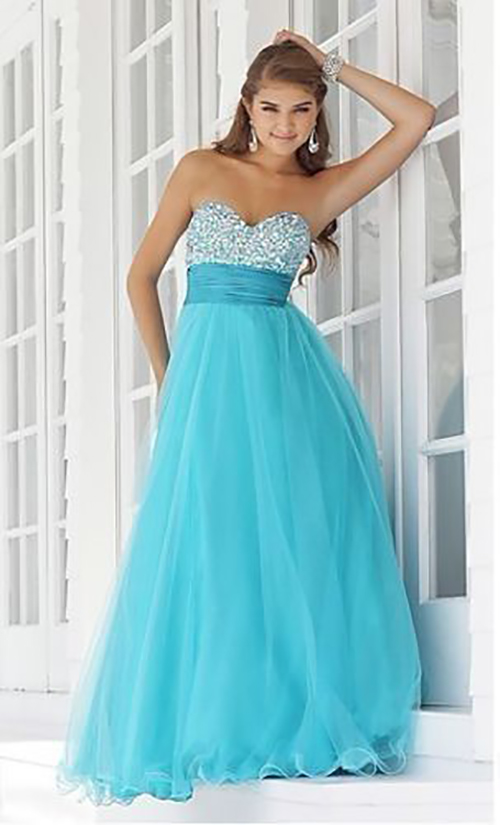 Aqua Crystal Applique Ball Gown Bridesmaid Prom Size 6