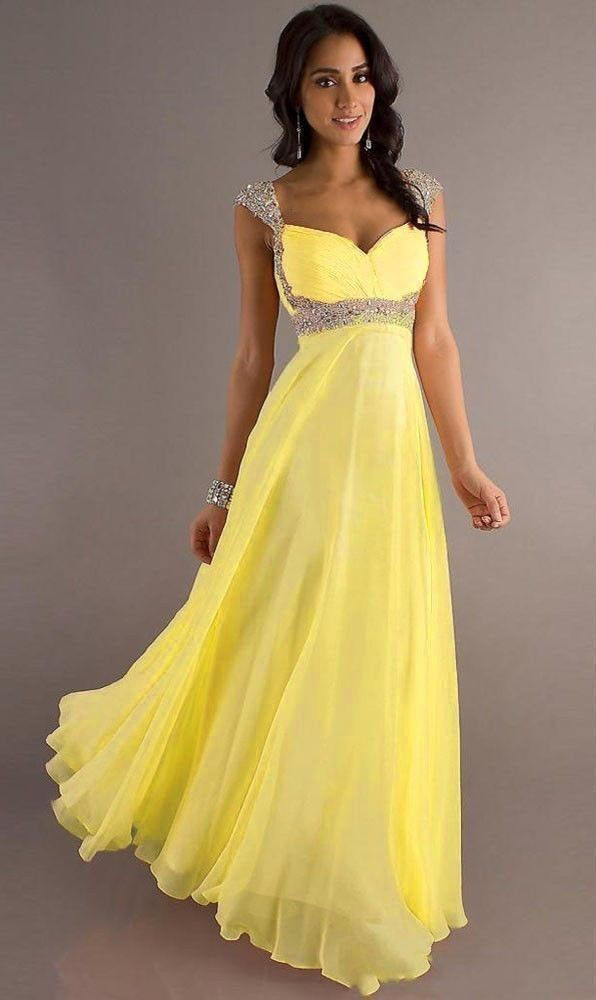 Yellow Chiffon Sequins & Crystals Bridesmaid Party Dress Size 4