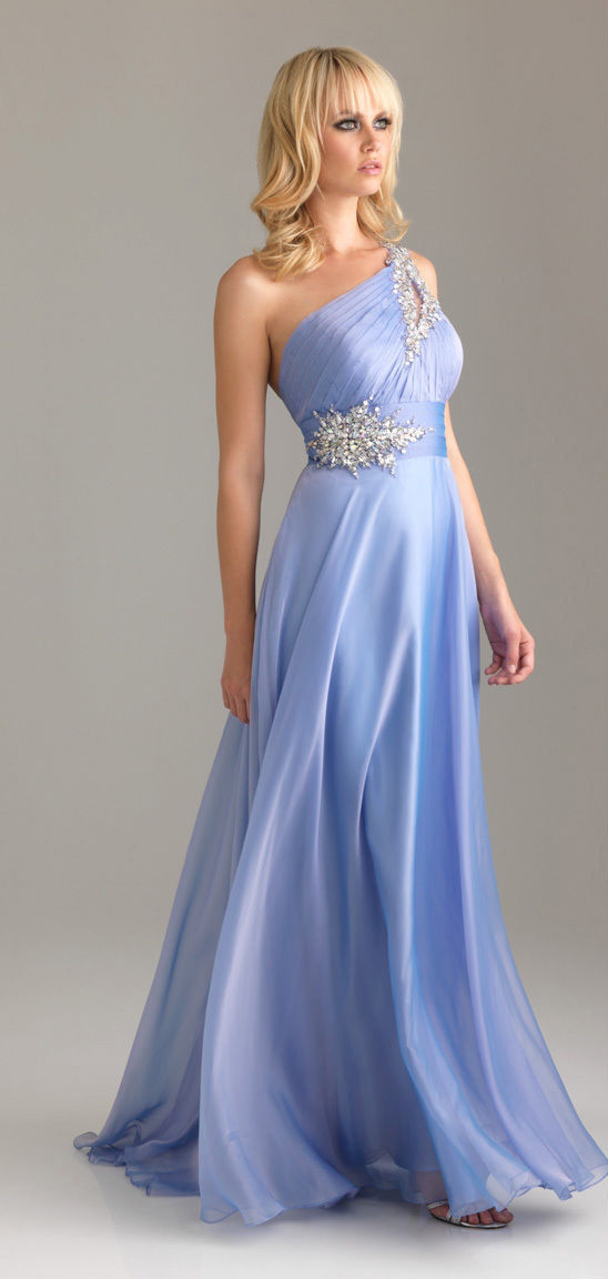 Blue 1 Shoulder Dress w/Beads & Sequins Bridesmaid Prom Size 6