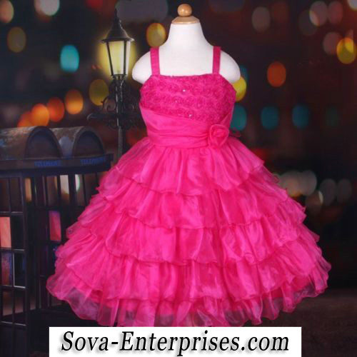 Fuchsia Ruffled Flower Girl Wedding Princess Ball Dress Size 9