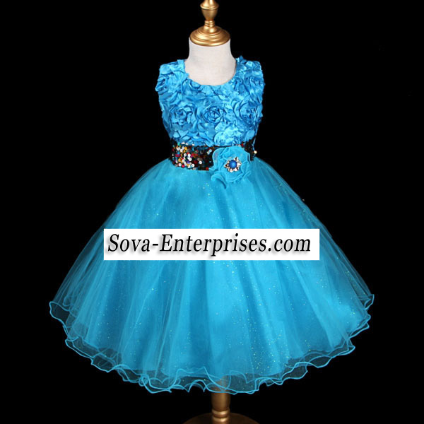 Blue Sequins Flower Girl Wedding Pageant Dress Size 6