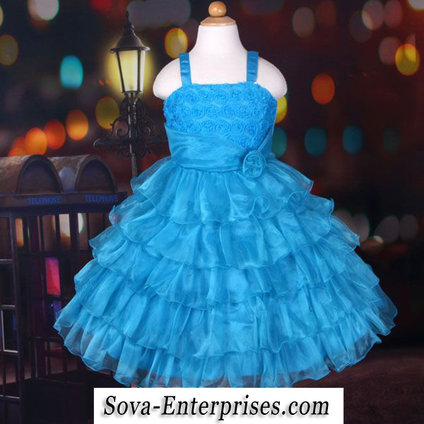 Blue Fancy Ruffled Flower Girl Wedding Pageant Dress Size 3T