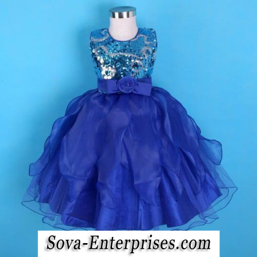 Blue Sequins Ruffled Skirt Flower Girl Pageant Dress Size 6