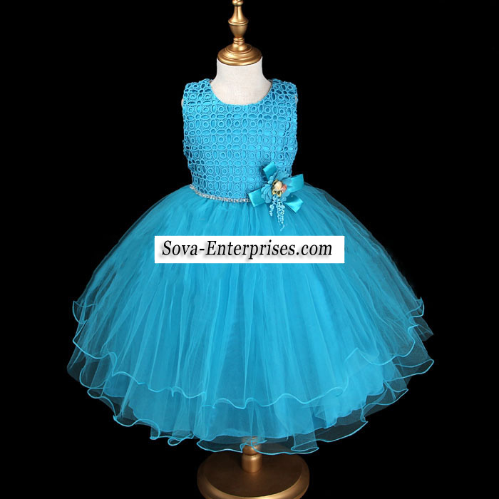 Blue Lace Rhinestones Flower Girl Party Dress Size 9