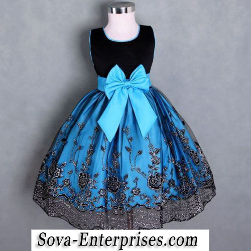 Blue Black Silver Lace Fancy Princess Flower Girl Dress Size 7