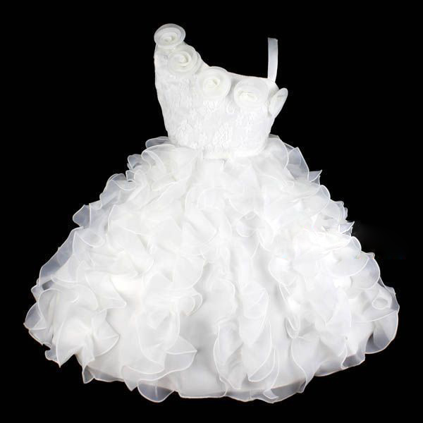 Ivory Lace 1 Shoulder Flower Girl Party Dress Size 7