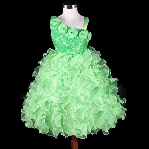 Green Lace 1 Shoulder Flower Girl Party Dress Size 7