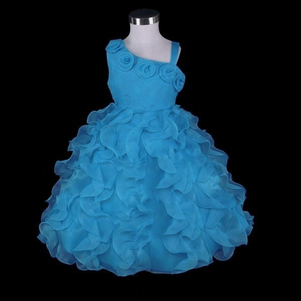 Blue Lace 1 Shoulder Flower Girl Party Dress Size 7