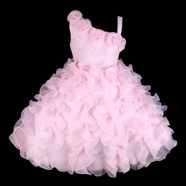 Pink Lace 1 Shoulder Flower Girl Party Dress Size 6