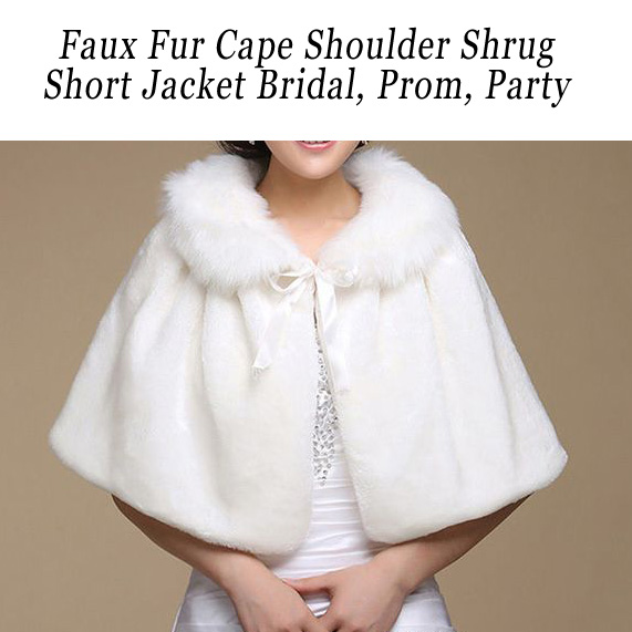 Faux Fur Cape Shoulder Shrug Jacket Bridal Imperfect