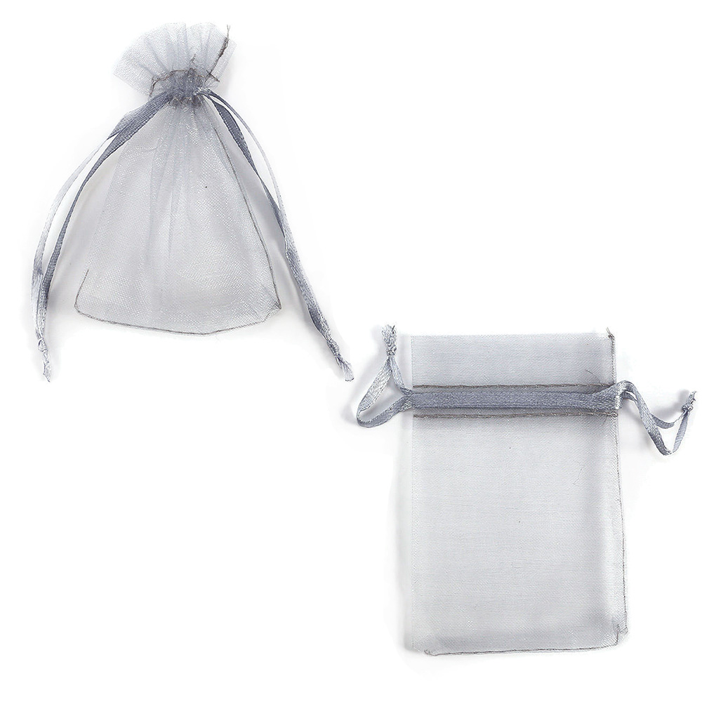 "Organza Drawstring Gift Bag 4.25"" x 6"" Grey (12)"