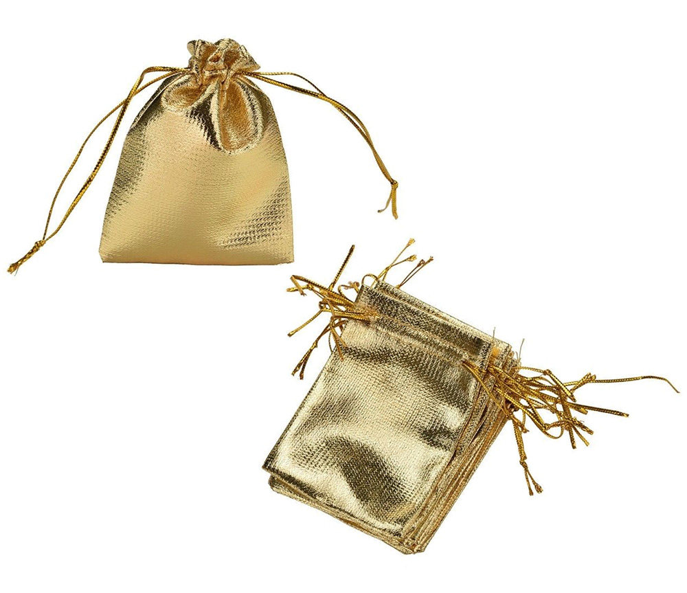 "Gold Drawstring Gift Bag 2.5"" x 3.5"" (12)"