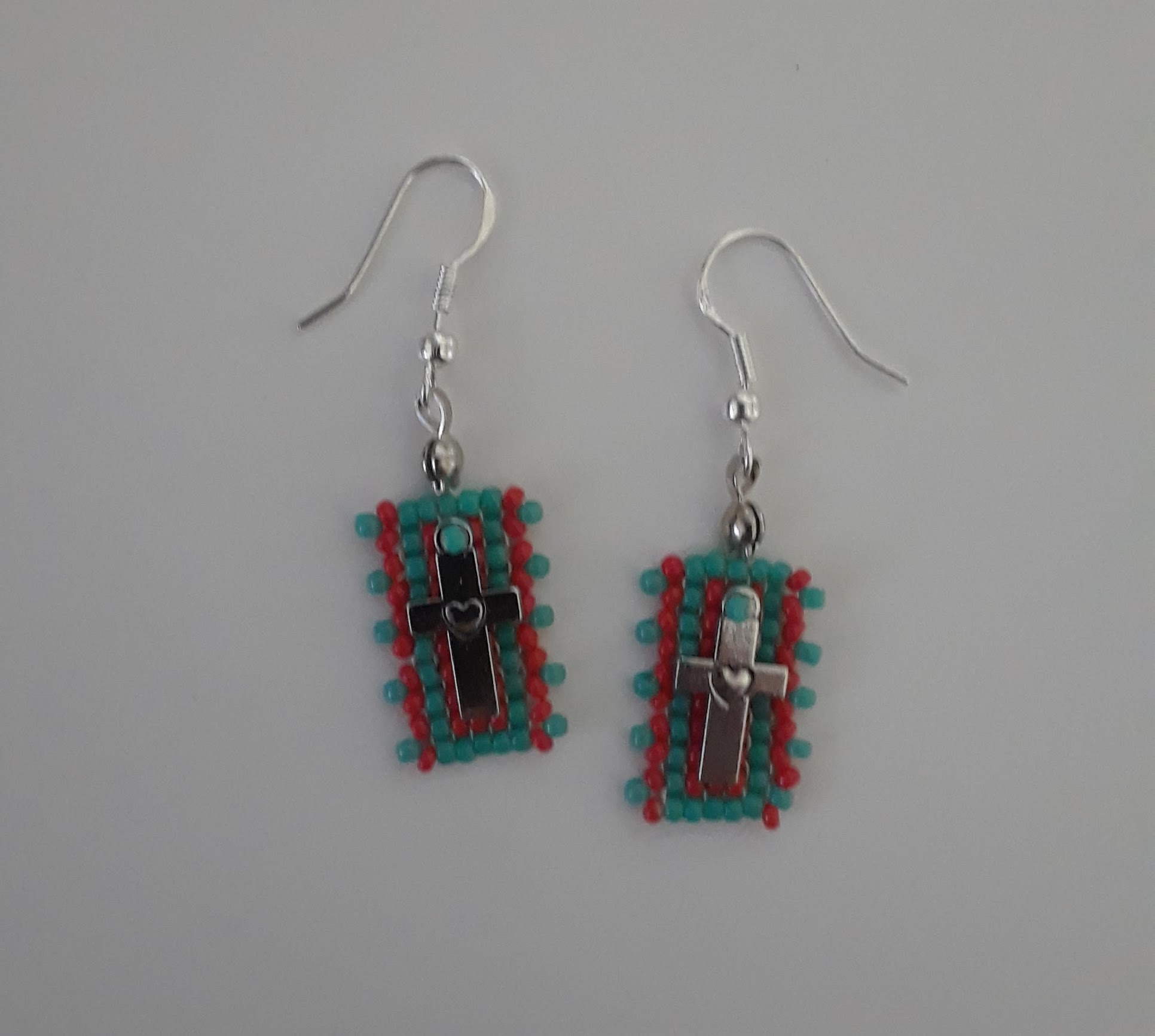 Beadwork Panel Cross Charm Earrings