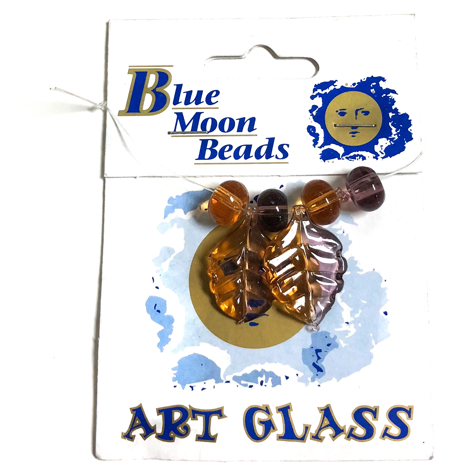 Blue Moon Beads, Glass, Wine/Topaz Leaves/Rondelle 7 pcs