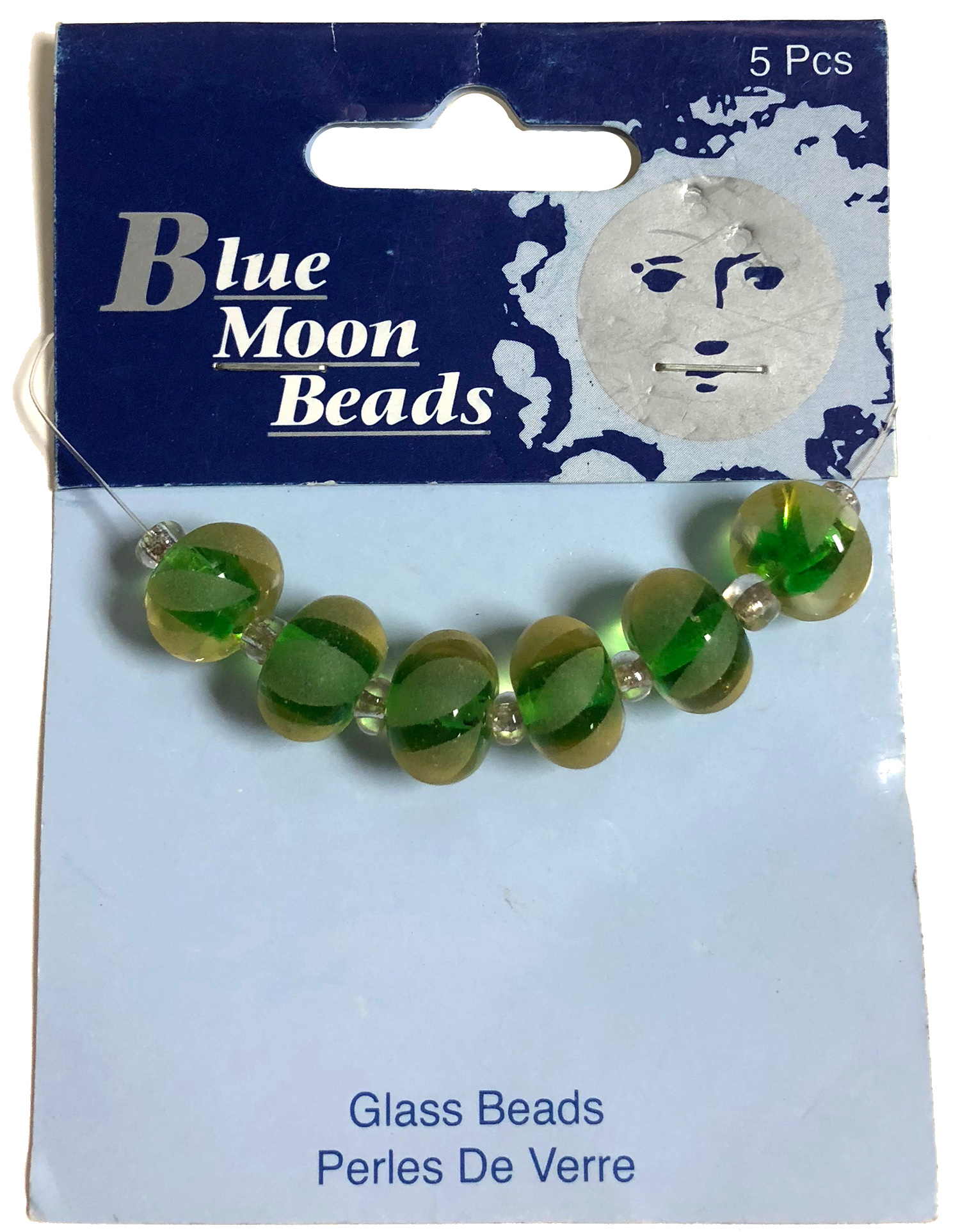 Blue Moon Beads, Glass, Frosted Stripe Green 5 pcs
