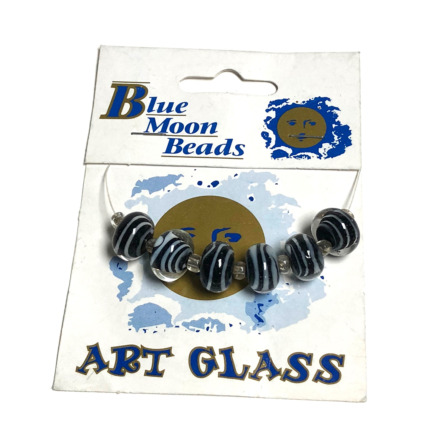 Blue Moon Beads, Glass, White Animal Print Ronds 6 pcs