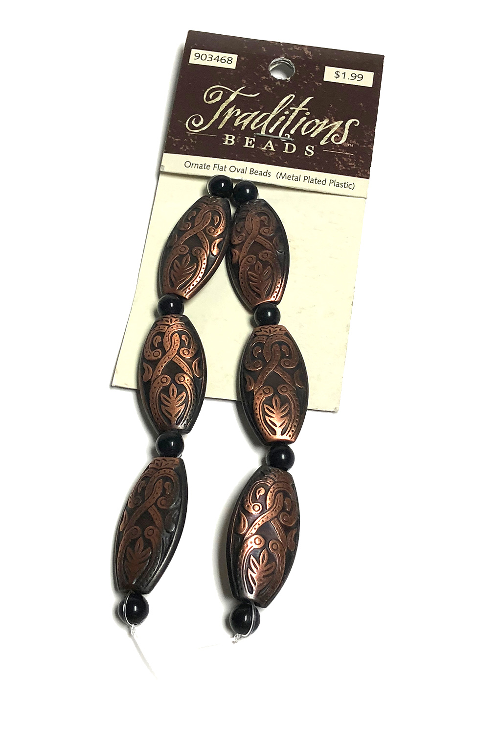 Traditions Ornate Flat Oval Beads 6 pcs