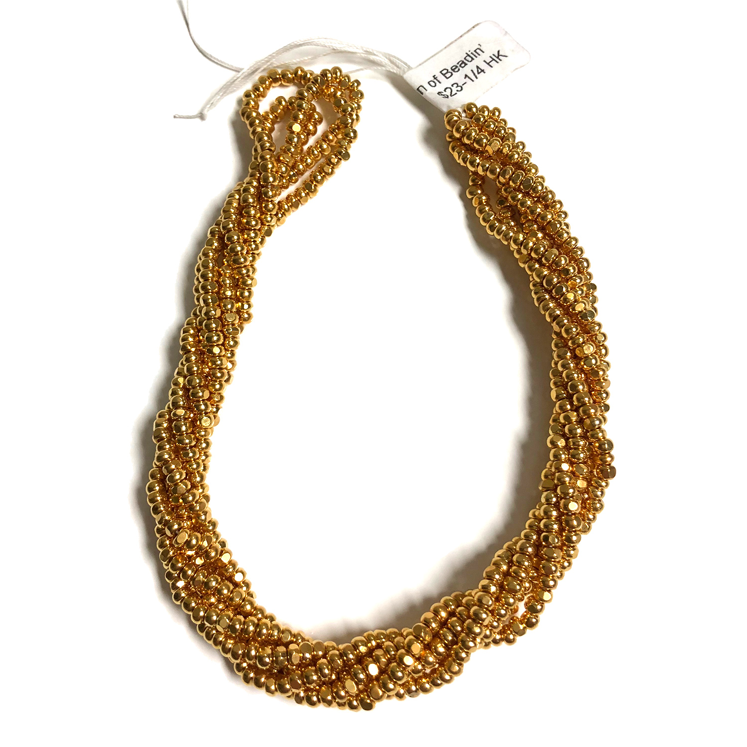 Size 8 Cut Seed, Gold Plated 22K 3 Strands