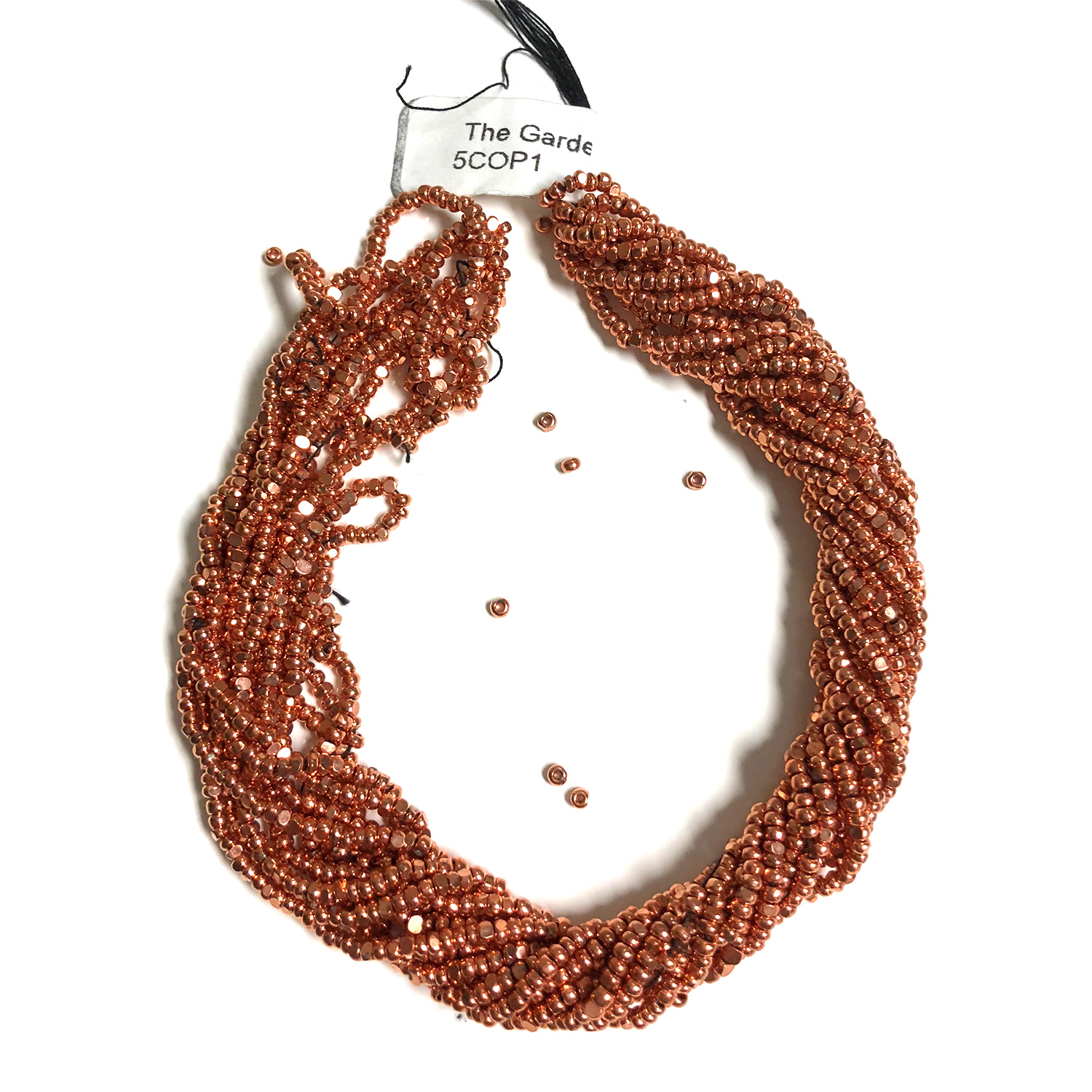 Size 11 Cut Seed, Copper Plated 6 Strands (some loose beads)