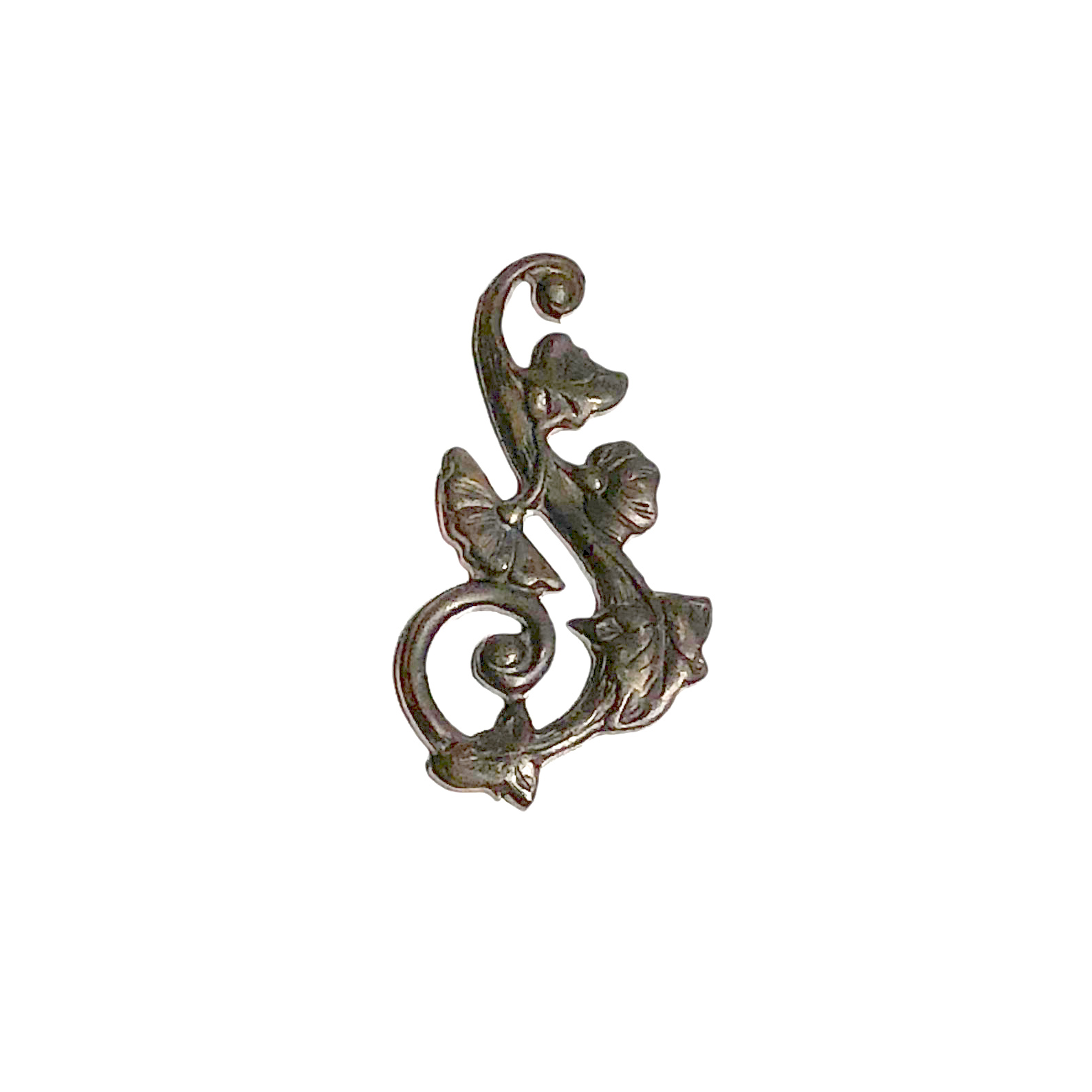 Vintaj Natural Brass 27x51mm Deco Vines Swirling Left (4)