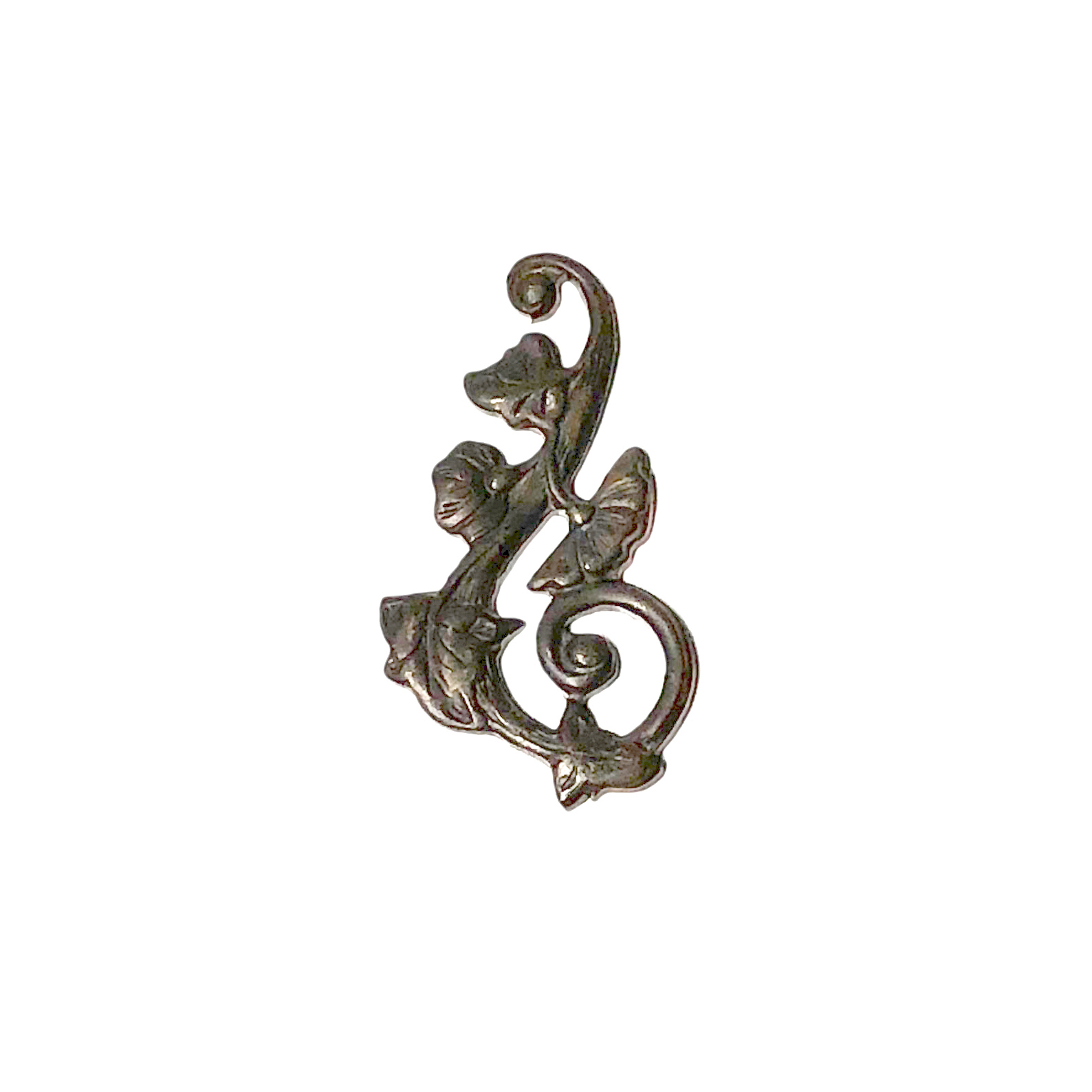 Vintaj Natural Brass 27x51mm Deco Vines Swirling Right (4)