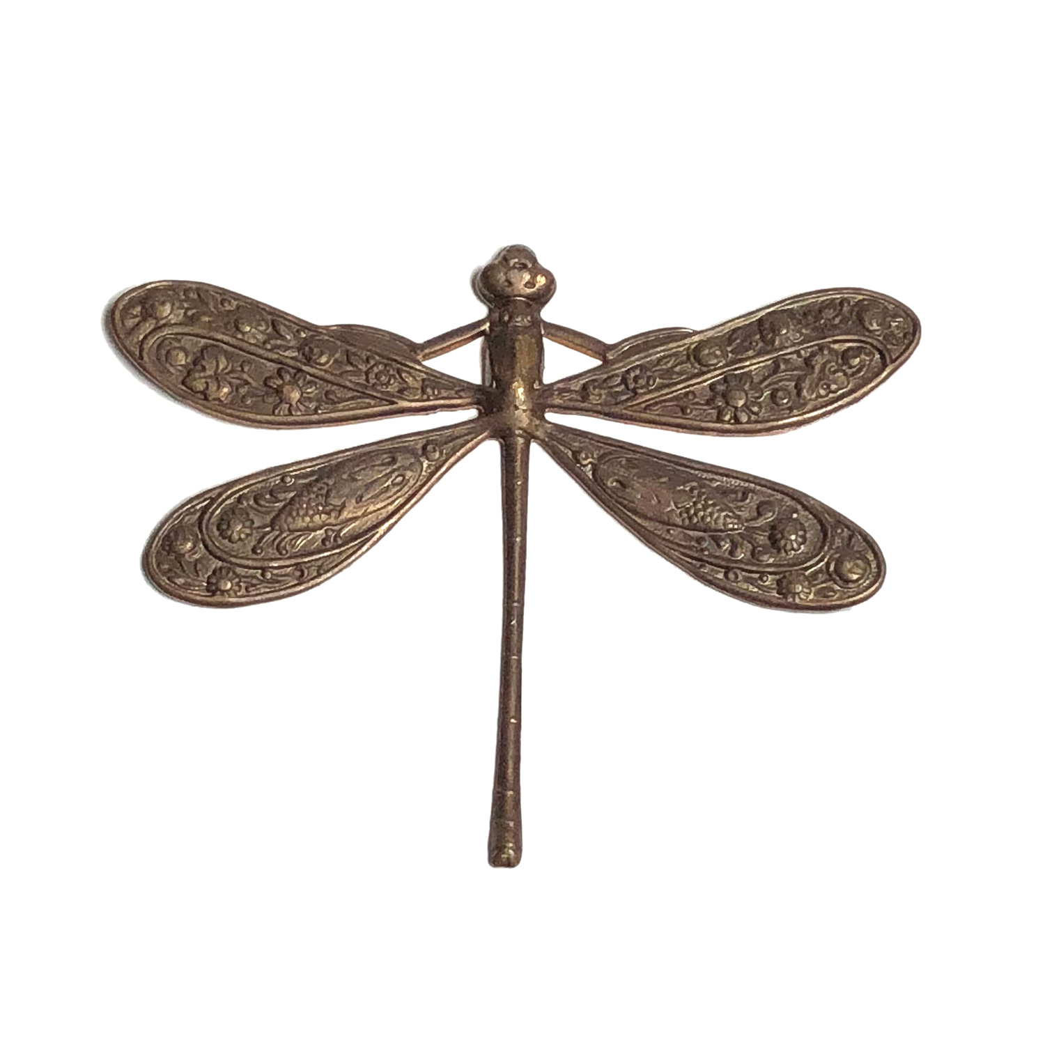 Vintaj Natural Brass 50x39mm Ornate Dragonfly Pendant