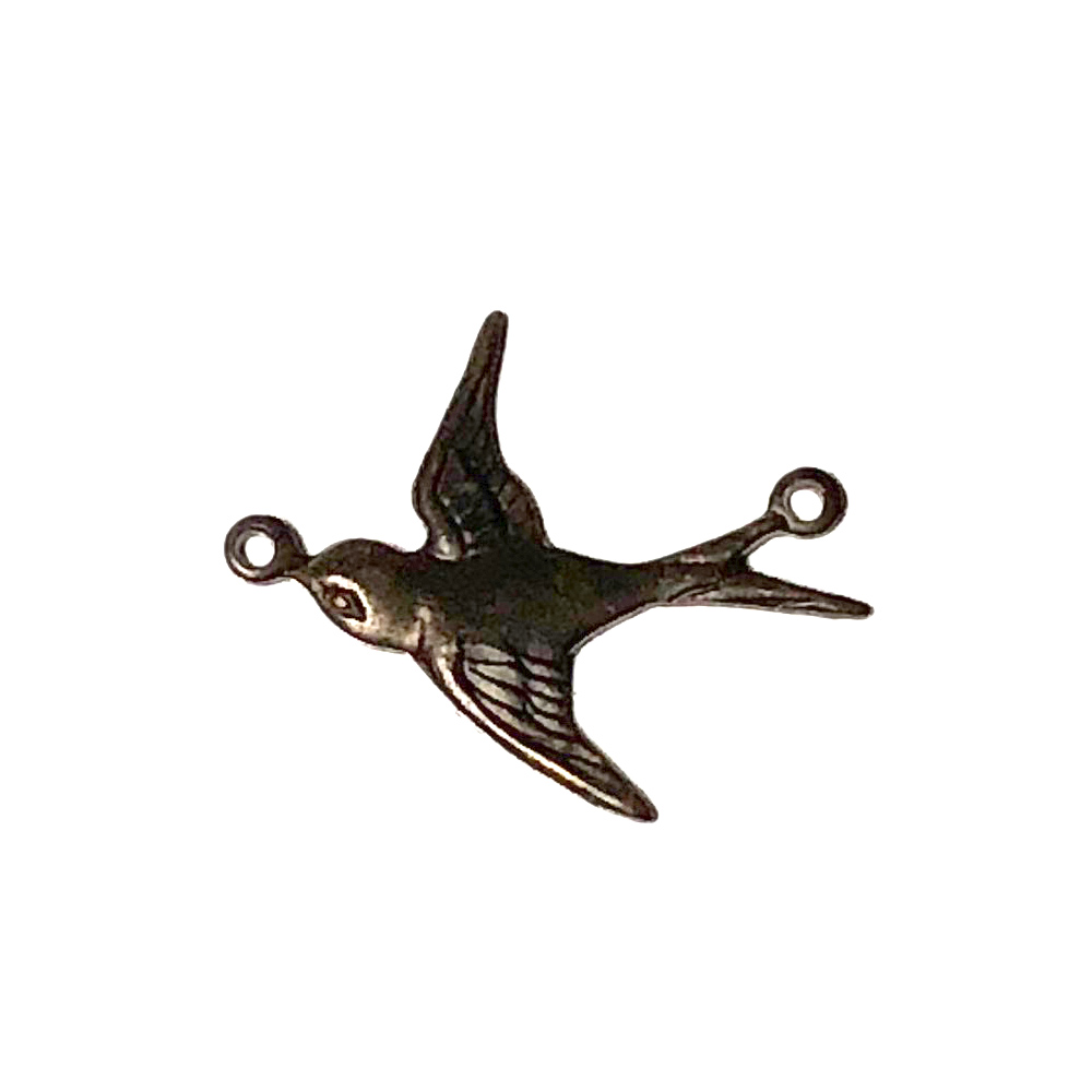 Vintaj Natural Brass Flying WEST Sparrow Bird Connector 19mm (2)