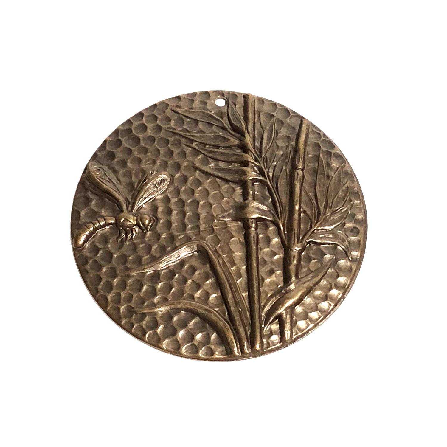 Vintaj Natural Brass Dragonfly Reed Pendant 42mm
