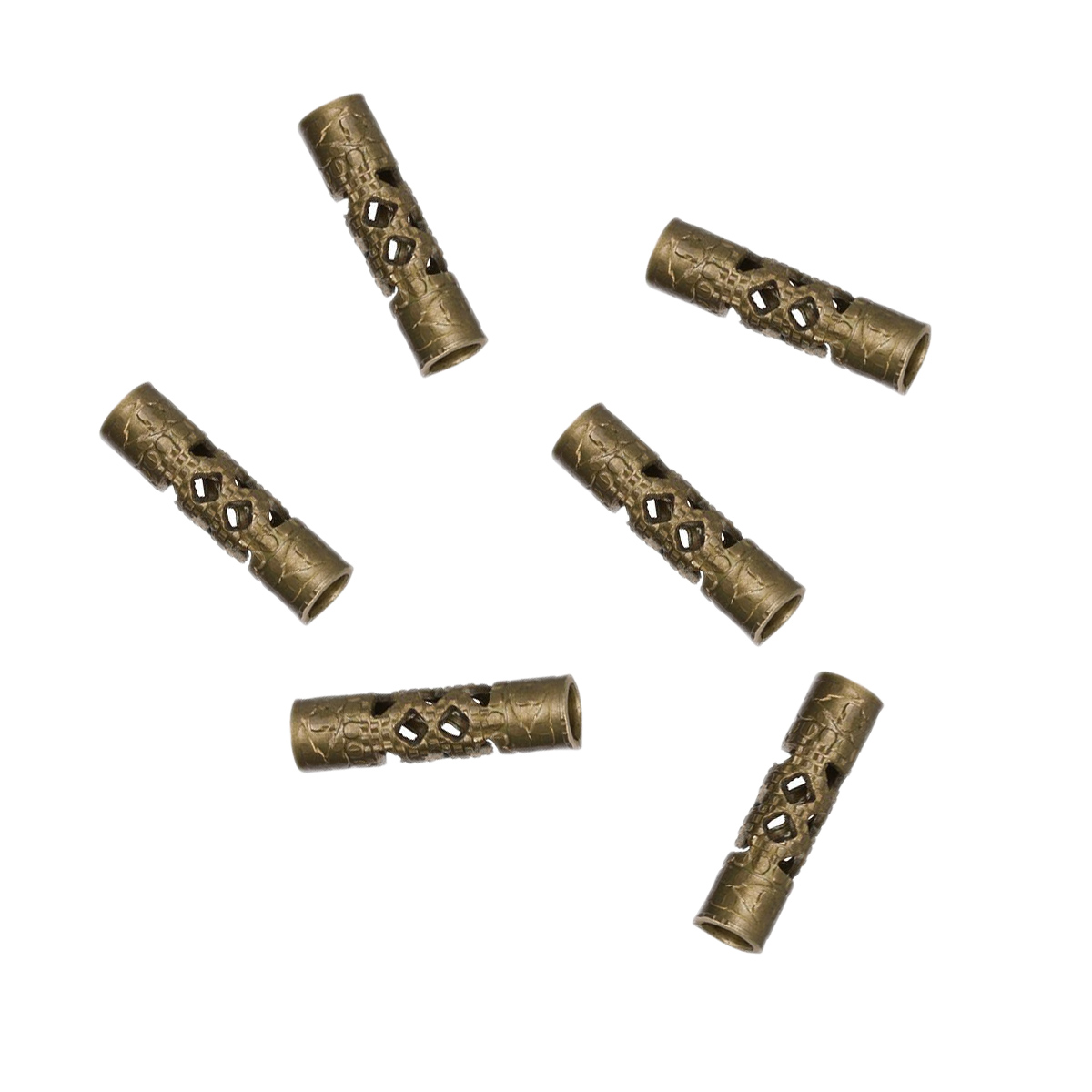 Vintaj Natural Brass Filigree Tube Bead 12x3mm 6 pieces